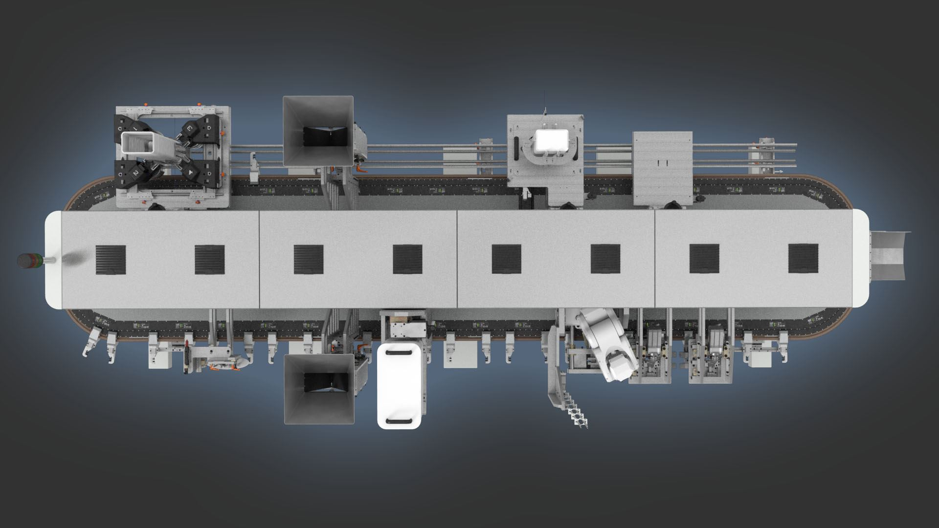Topview of Doysis with four module base. Flexible packaging solutions.